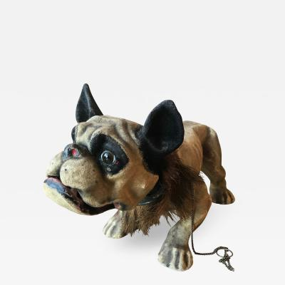 PAPIER MACH GROWLER BULLDOG PULL TOY France c1900