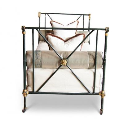 PATINATED IRON EMPIRE CAMPAIGN BED