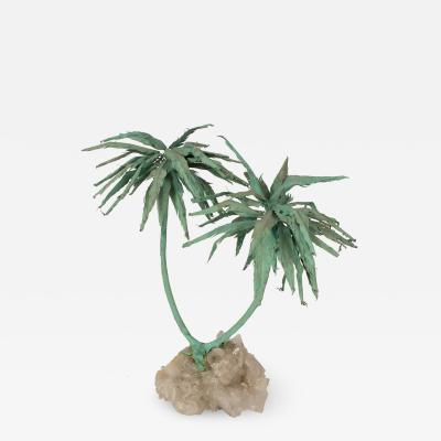 PATINATED PALM TREE SCULPTURE