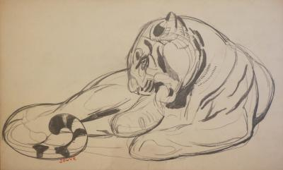 PAUL JOUVE Original Drawing of a Panther by Paul Jouve France Art Deco Circa 1925