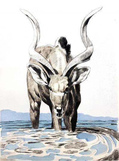 PAUL JOUVE Paul Jouve Antelope Original Engraving 1950