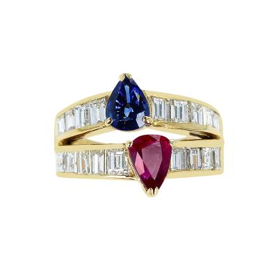 PEAR SHAPE SAPPHIRE AND RUBY RING WITH EMERALD CUT DIAMONDS 18K YELLOW GOLD