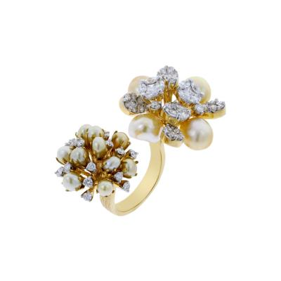 PEARL CLUSTERS OPEN RING WITH MIXED CUT DIAMONDS 18K GOLD