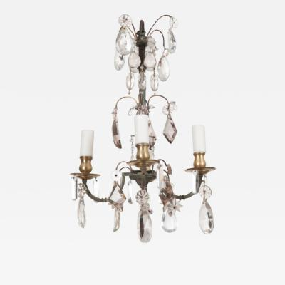 PETITE FRENCH 19TH CENTURY FOUR LIGHT CRYSTAL CHANDELIER