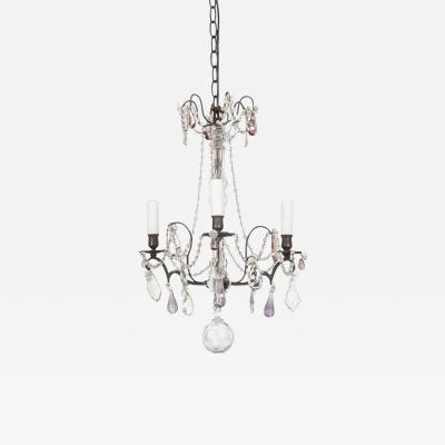PETITE FRENCH 19TH CENTURY IRON CRYSTAL CHANDELIER