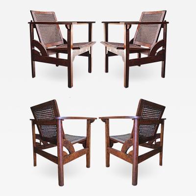 PIERRRE DARIEL Pierre Dariel exceptional documented set of 4 Hendaye chairs