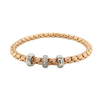 PInk Gold 18 K Timeless Stretch Bracelet with diamonds