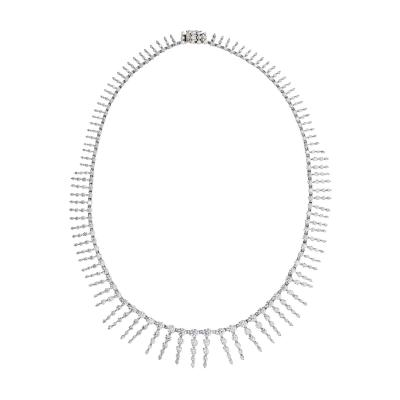 PLATINUM 18K WHITE GOLD 23 CARAT DIAMOND BIB NECKLACE