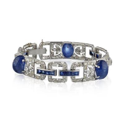PLATINUM CABOCHON AND FRENCH CUT SAPPHIRE SINGLE DIAMOND LINK BRACELET