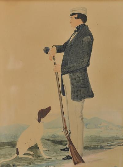 PORTRAIT OF A GENTLEMAN HOLDING A RIFLE WITH HIS DOG