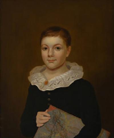 PORTRAIT OF A YOUNG BOY WITH A RUFFLED COLLAR HOLDING A PORTFOLIO