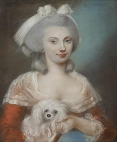 PORTRAIT OF A YOUNG LADY WITH HER DOG