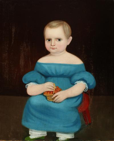 PORTRAIT OF SEATED CHILD HOLDING A BASKET OF STRAWBERRIES Prior Hamblin School
