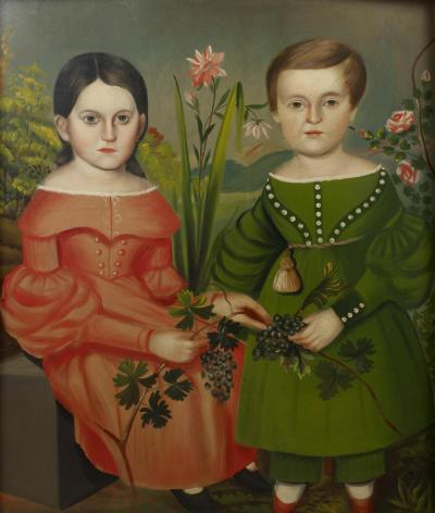 PORTRAIT OF TWO CHILDREN American c 1835