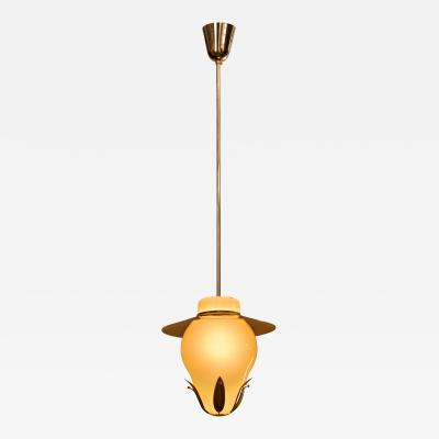 Paavo Tynell A Finnish Opaline Glass and Brass Chandelier Mid 20th Century