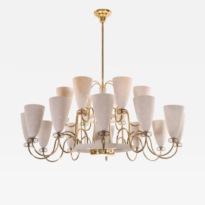 Paavo Tynell A Large and Rare 19 Light Brass Painted Chandelier Paavo Tynell for Lightolier