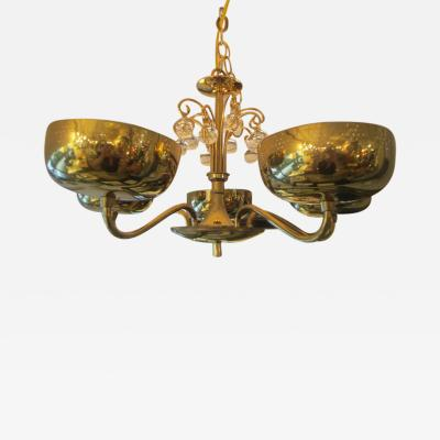 Paavo Tynell Five Arm Brass Fixture in the Manner of Paavo Tynell
