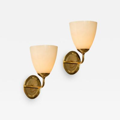 Paavo Tynell Large 1950s Paavo Tynell Glass and Brass Sconces for Taito Oy