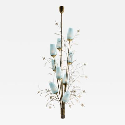 Paavo Tynell Large Paavo Tynell Chandelier with Blue Opaline Glass Shades