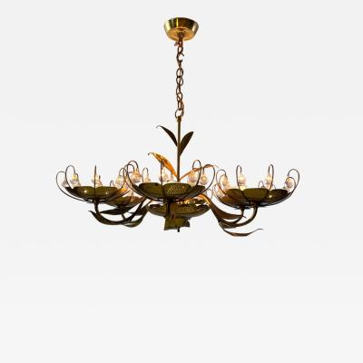 Paavo Tynell MID CENTURY BRASS AND GLASS CHANDELIER IN THE MANNER OF PAAVO TYNELL