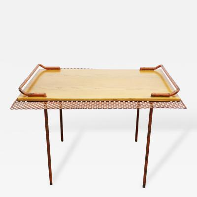 Paavo Tynell Mid Century Modern Paavo Tynell for Taito of Finland Perforated Metal Oak Table
