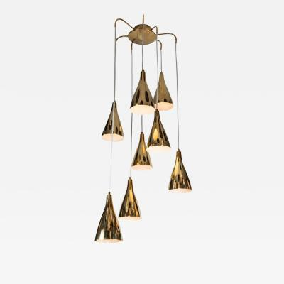 Paavo Tynell Monumental Paavo Tynell Perforated Brass Chandelier circa 1949