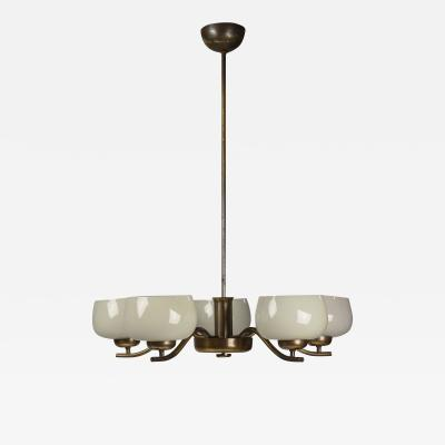 Paavo Tynell Paavo Tynell Chandelier for Taito Brass Blown Glass Mid Century Modern 1940s