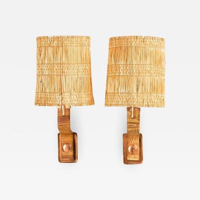 Paavo Tynell Paavo Tynell Copper Rattan Wall Lights 1940s