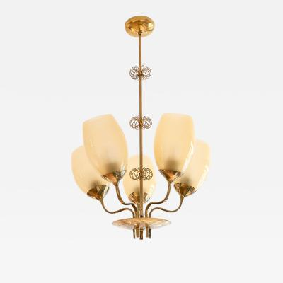 Paavo Tynell Paavo Tynell Five Arm Brass Chandelier Designed for Kuopio Hospital Taito 1949
