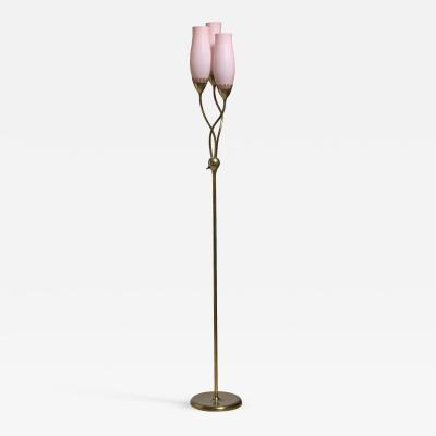 Paavo Tynell Paavo Tynell Floor Lamp with Three Soft Pink Shades for Idman Finland 1950s