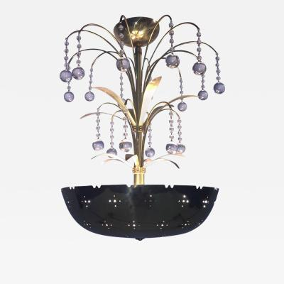 Paavo Tynell Paavo Tynell Style Polished Brass Bowl Glass Ball Pendant Chandelier