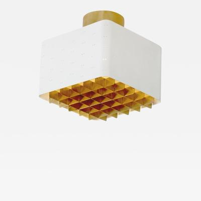 Paavo Tynell Paavo Tynell White and Brass Ceiling Lamp Model 9068 for Idman Finland 1950