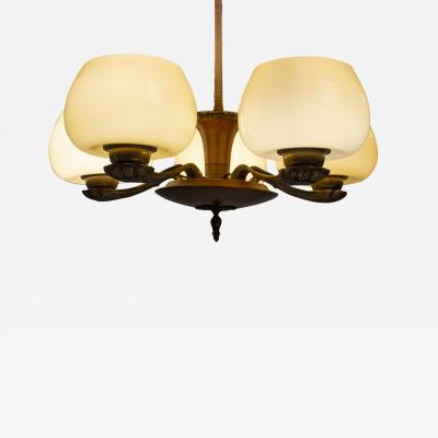 Paavo Tynell Paavo Tynell for Taito Art Deco Chandelier in Walnut Yellow Ochre Glass 1930s