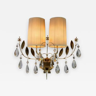 Paavo Tynell Paavo Tynell for Taito Oy A Single Finnish Crystal and Brass Sconce