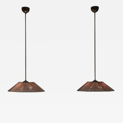 Paavo Tynell Pair Paavo Tynell Pair Pendants with Wooden Shade Idman Finland 1950s
