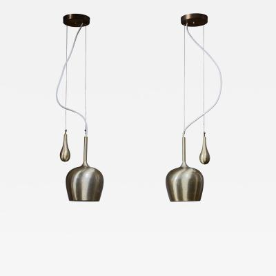 Paavo Tynell Pair of Paavo Tynell Bell Chandeliers with Counterweight