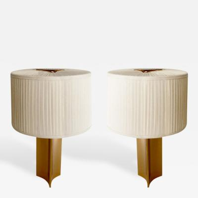 Paavo Tynell Pair of Sculptural Brass Table Lamps by Paavo Tynell for Taito Oy