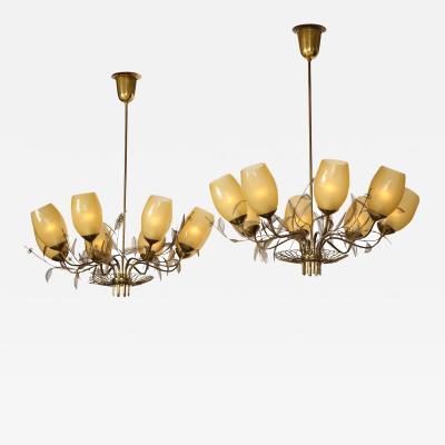Paavo Tynell Rare Paavo Tynell 8 Light Chandeliers