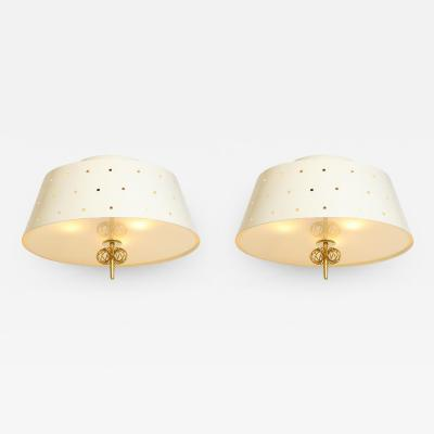 Paavo Tynell Rare Pair of A2 2 Flush Mount Ceiling Lights by Paavo Tynell