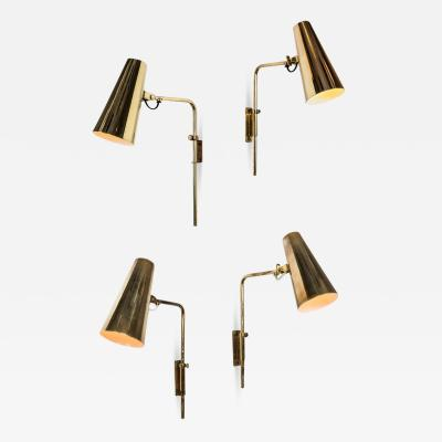 Paavo Tynell Set of Four 1950s Paavo Tynell Model 9459 Brass Wall Lights for Taito OY