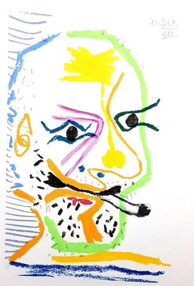 Pablo Picasso After Pablo Picasso Le Go t de Bonheur one plate Smoking Portrait 1970