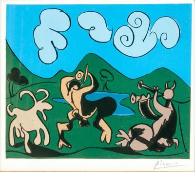 Pablo Picasso Dancing Animals Linocut