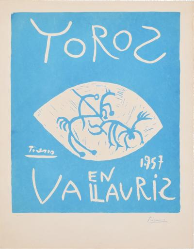 Pablo Picasso France Pablo Picasso Toros Vallauris 1957 Blue Linocut Poster H Arnera 38 200