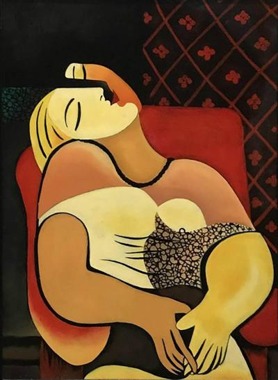 Pablo Picasso Interpretation in Gloss Lacquer of Picassos Painting Le Reve