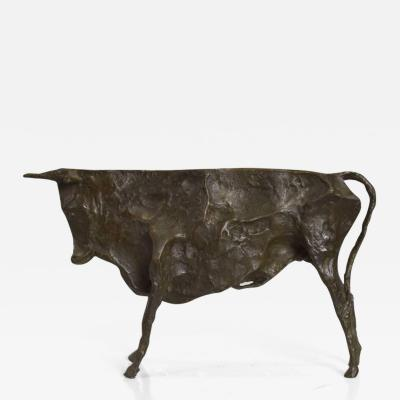 Pablo Picasso Mid Century Modern Bronze Bull Sculpture Picasso Inspired