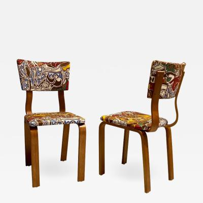 Pablo Picasso Midcentury Thonet Bentwood Side Chairs with Pablo Picasso LTD Edition Fabric