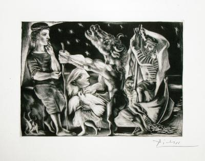 Pablo Picasso Minotaure aveugle guide par Marie The re se au Pigeon dans une nuit e toile e