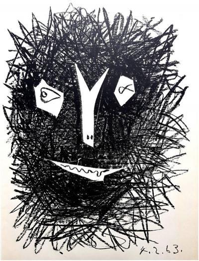 Pablo Picasso Pablo Picasso Deux Masques Original Lithograph 1964