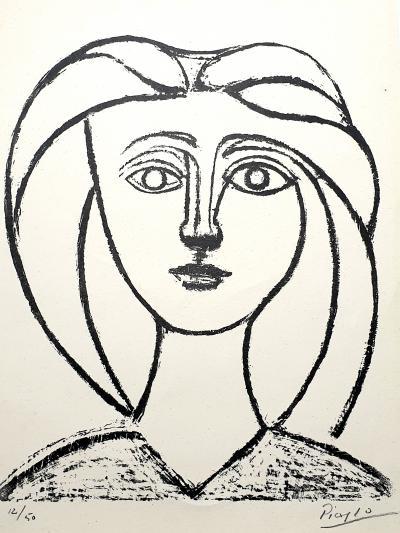 Pablo Picasso Pablo Picasso Jeune Fille aux Grands Cheveux Original Signed Lithograph