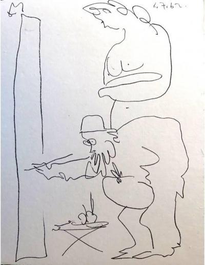 Pablo Picasso Pablo Picasso Painter and His Model Original Lithograph 1962